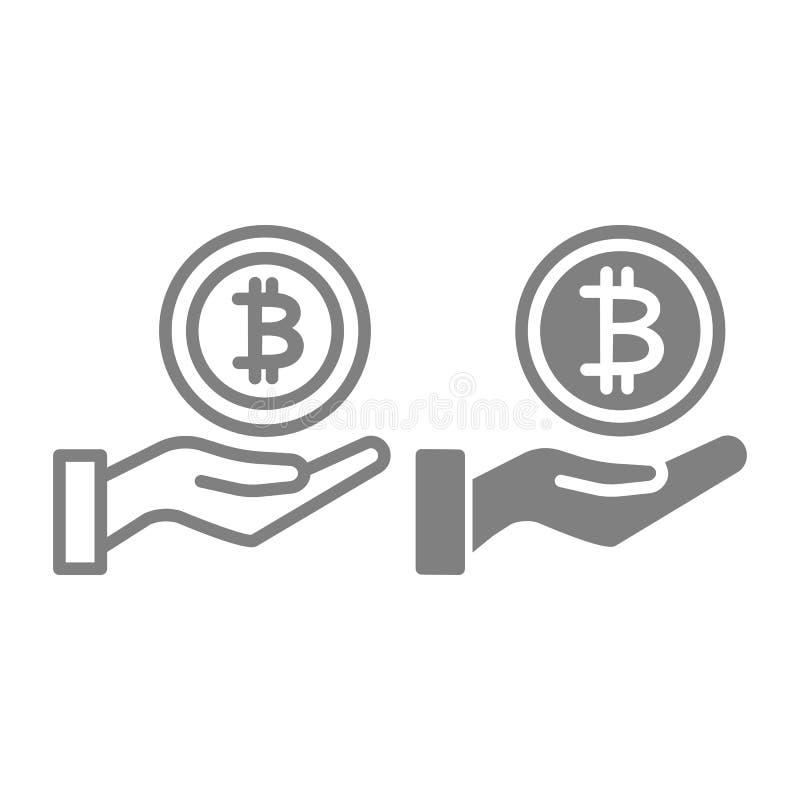 Sparande pengarlinje och skårasymbol Myntet gömma i handflatan in vektorillustrationen som isoleras på vit Bitcoin och handöversi vektor illustrationer