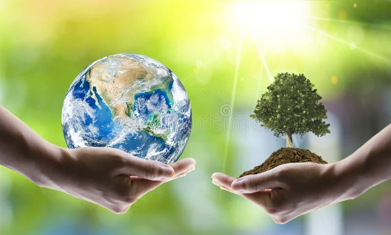 Sparande världsekologibegrepp Best?ndsdelar av denna avbildar m?blerat av NASA arkivfoton