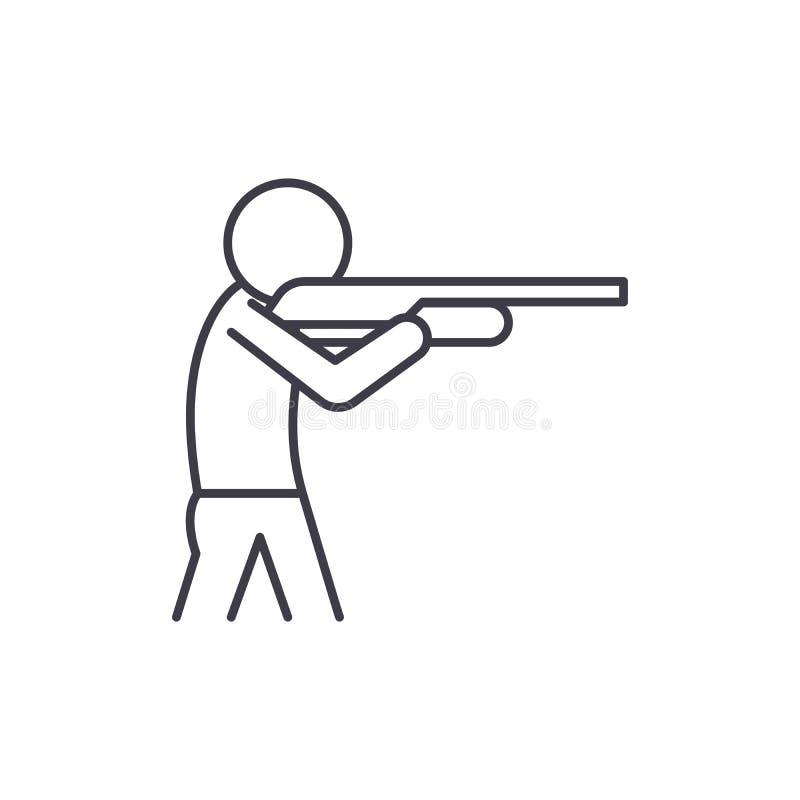 Sparando una linea concetto della pistola dell'icona Fucilazione dell'illustrazione lineare di vettore della pistola, simbolo, se royalty illustrazione gratis