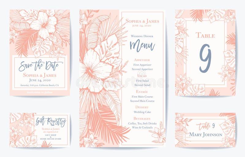 Sparar Retro blom- exotiskt tropiskt bröllop för vektorn datumet, menykortuppsättning Se portföljen för att matcha inbjudanuppsät royaltyfri illustrationer