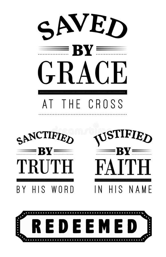 Sparat av den Grace Christian Emblem Lettering samlingen royaltyfri illustrationer