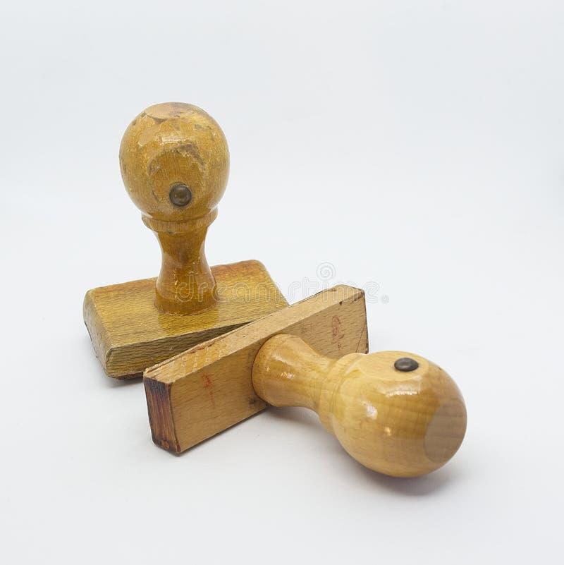 Sparato ad alcuni strumenti di timbratura di legno fotografia stock