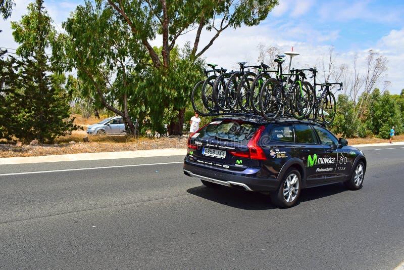 Movistar Team Car And Bikes La Vuelta España. Spare bikes on the car during stage 9 of La Vuelta Espana 2017 stock photos