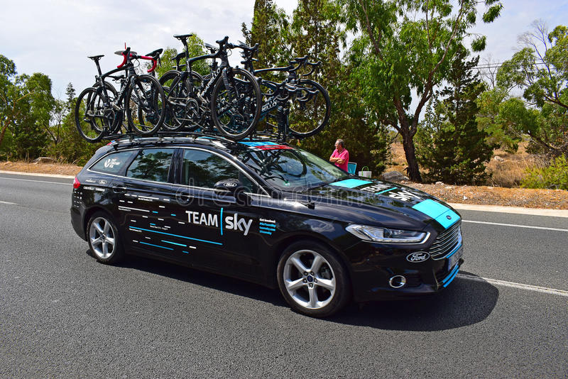 Team Sky Car And Bikes La Vuelta España royalty free stock image