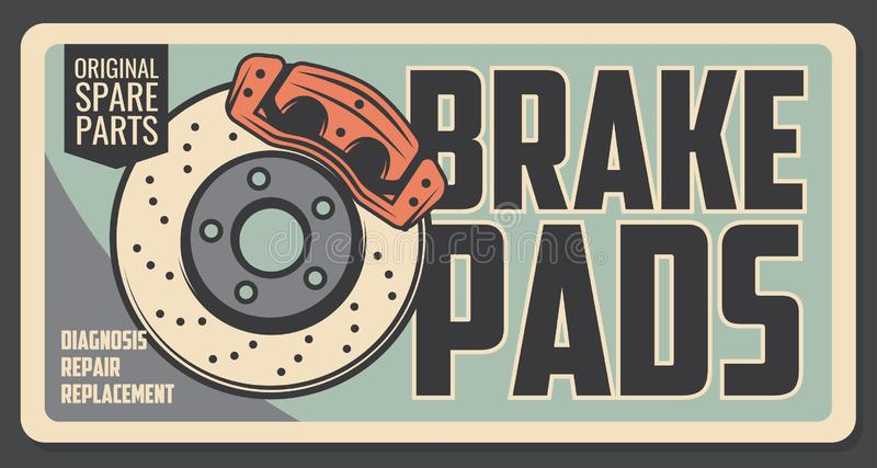 Spare brake pads diagnosis, repair and replacement stock illustration