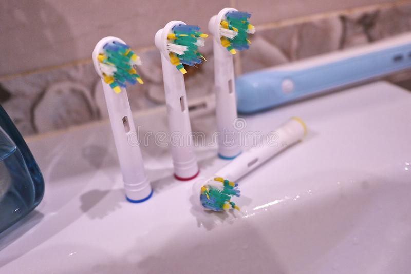 Spare brush heads for electric toothbrush. Clean much more effectively. Than a conventional toothbrush stock photo