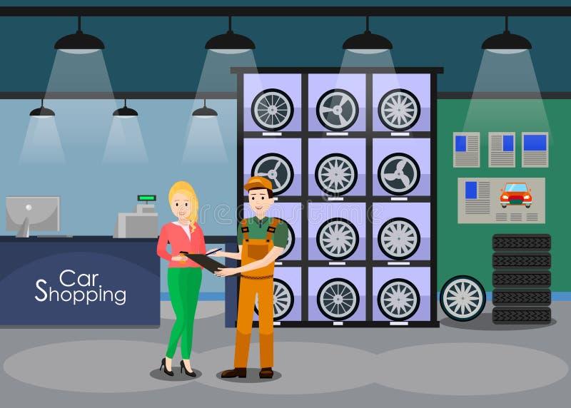 Spare Car Parts Shop Interior Flat Illustration royalty free illustration