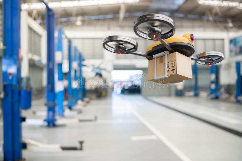 Spare part delivery drone at garage storage in leading automotive car service center for delivering mechanical shipping component. Part assembling to customer stock photos