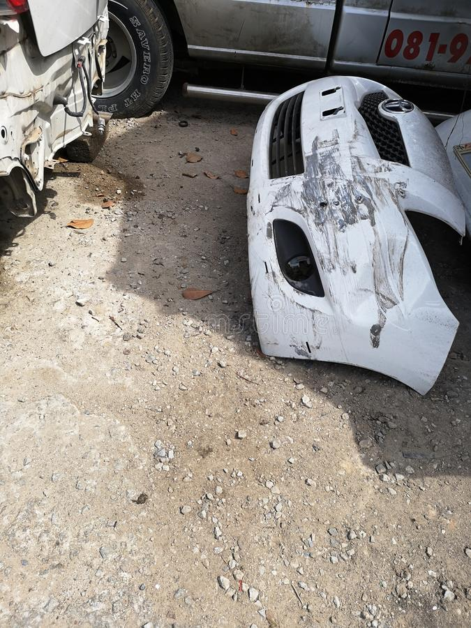 Spare parts from the car caused an accident.. Spare parts car caused accident royalty free stock photos