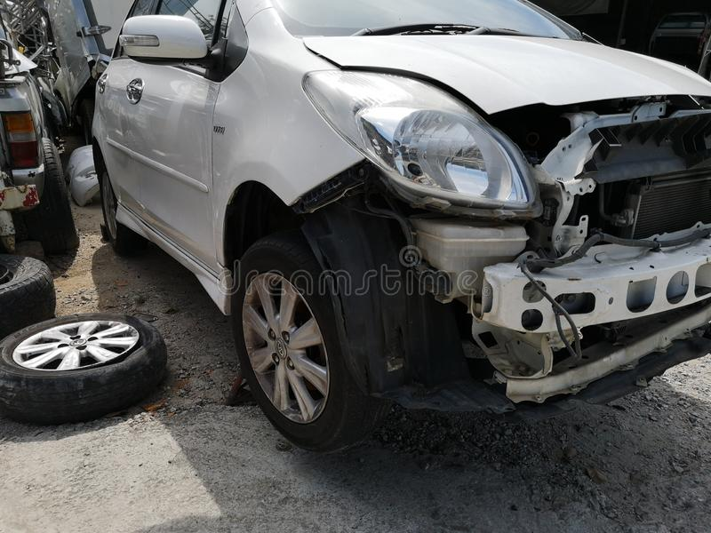 Spare parts from the car caused an accident.. Spare parts car caused accident royalty free stock photography