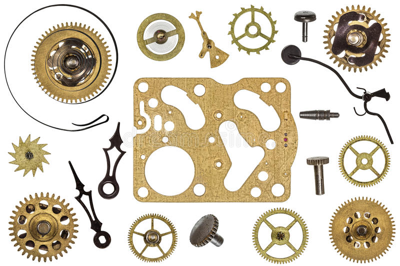 Spare parts for clock. metal gears, cogwheels and other details.  stock photography