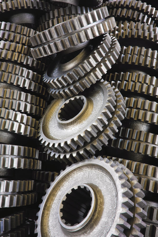 Spare parts gears. Spare parts machine gears closeup royalty free stock photo