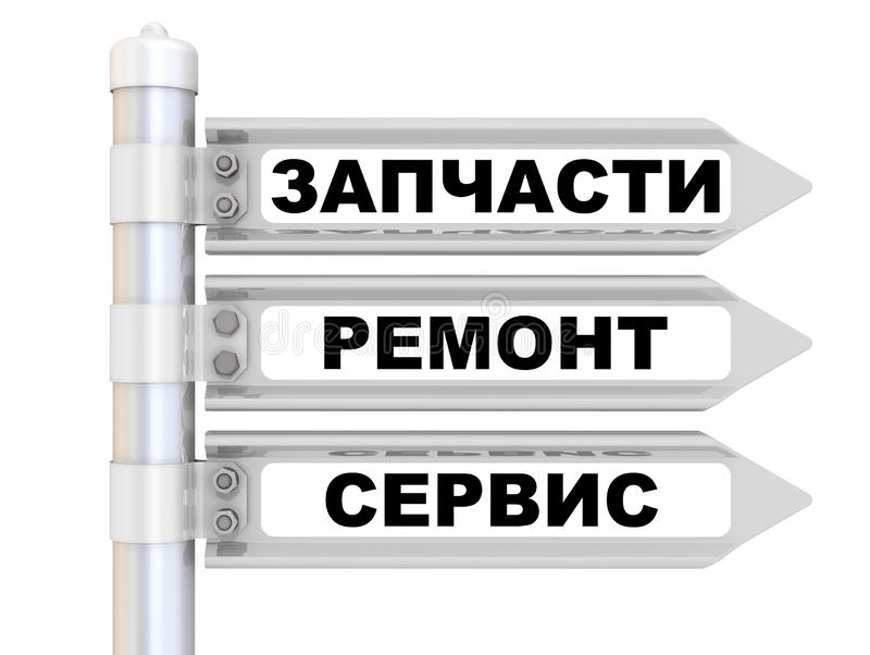 Spare parts, repair, service. The road sign. Translation text: `Spare parts, repair, service` royalty free illustration
