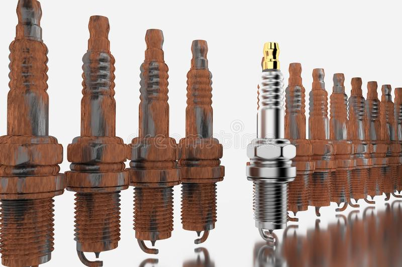 Spare parts spark plugs on white background for car and motorcycle royalty free stock images