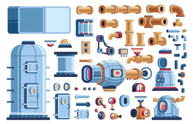 Spare parts for steampunk industrial machines. Tanks, equipment, devices and pipes. Vector pseudo 3d illustration stock illustration