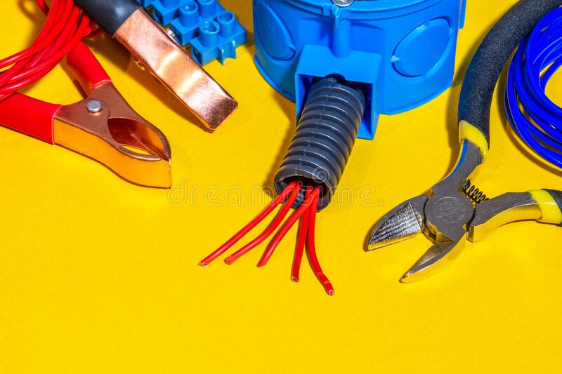 Spare parts, tool and wires for electrical repair royalty free stock photo