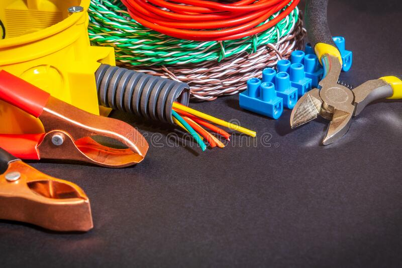 Spare parts, tool and wires for replacement or repair of electrical equipment royalty free stock images