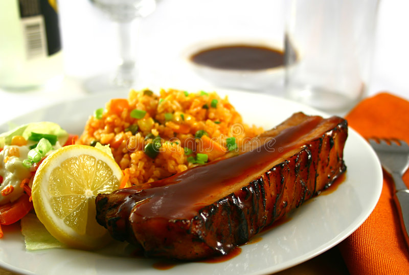 Spare ribs with rice stock images