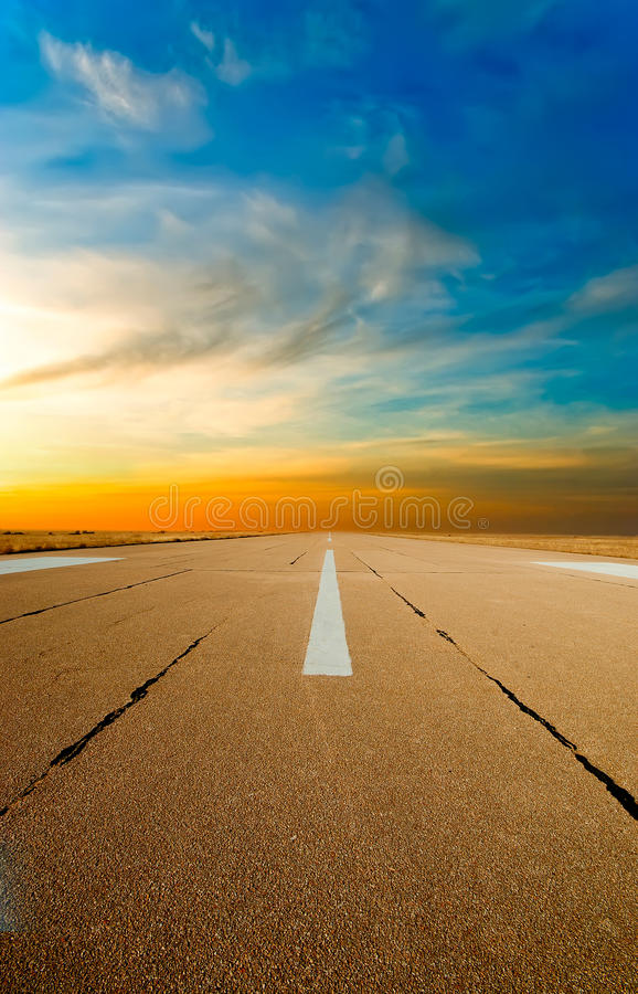 Spare the runway stretches into the distance royalty free stock photography