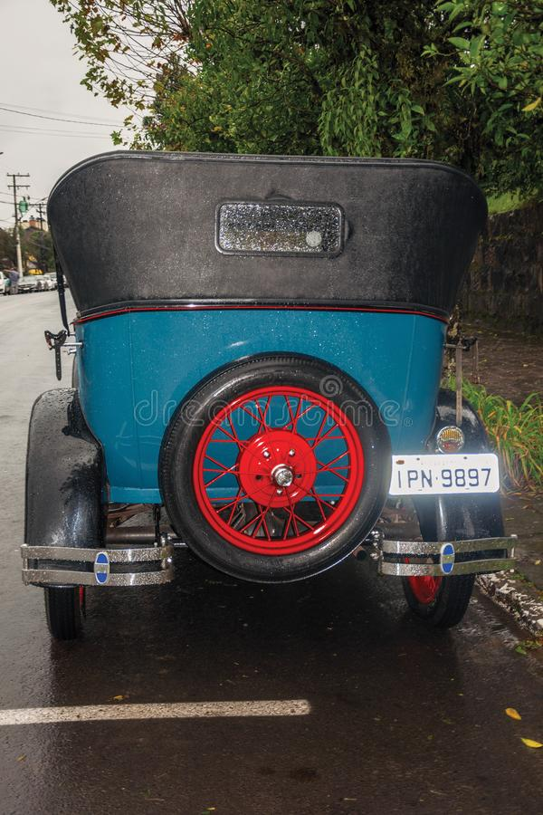Spare tire in the back of antique Ford 1929 car royalty free stock photography