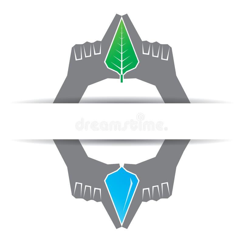 Sparen aardconcept met blad en waterdrop vector illustratie