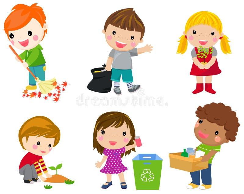 Sparen Aarde Het recycling van het afval De kinderen plantten jonge bomen royalty-vrije illustratie