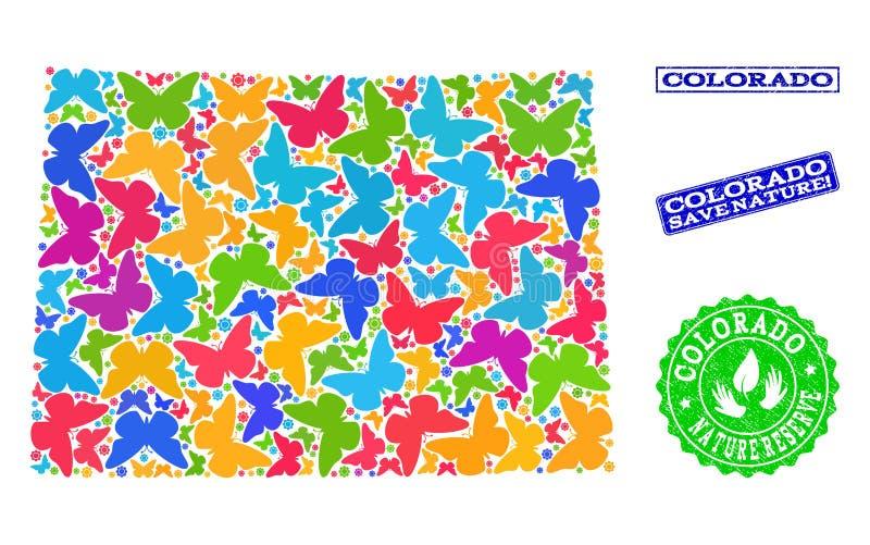 Sparen Aardsamenstelling van Kaart van de Staat van Colorado met Vlinders en Geweven Zegels vector illustratie