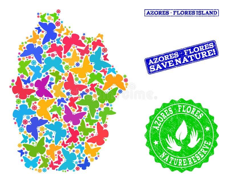 Sparen Aardsamenstelling van Kaart van het Eiland van de Azoren - Flores-met Vlinders en Geweven Verbindingen vector illustratie
