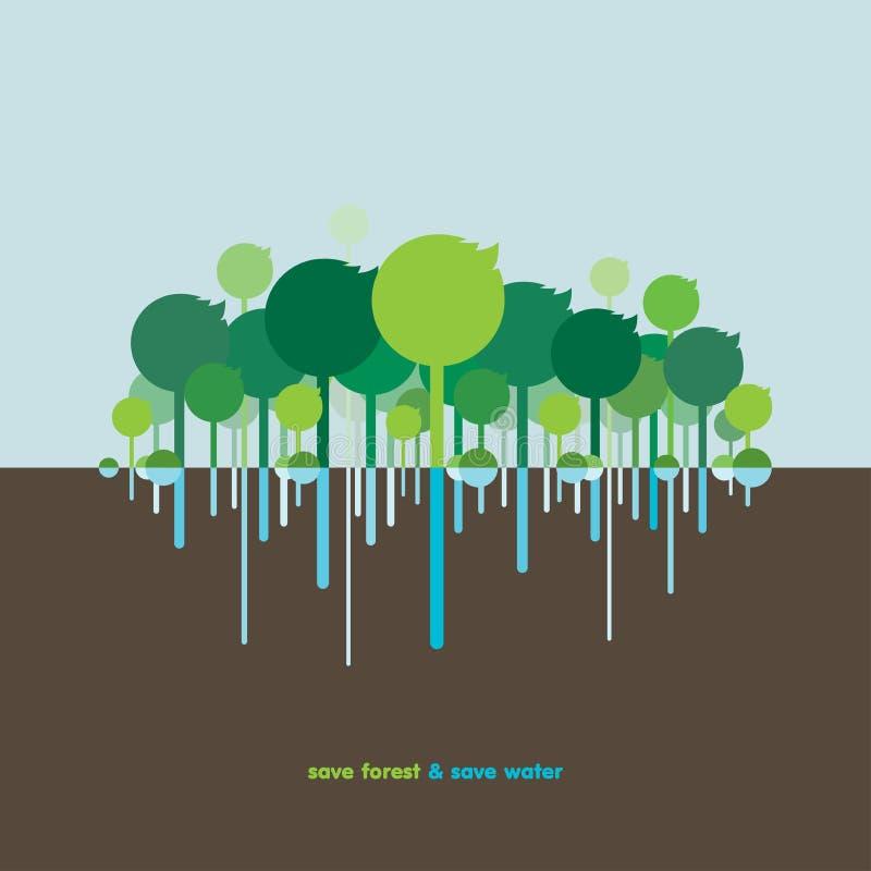 Sparen bos & bespaar water stock afbeeldingen