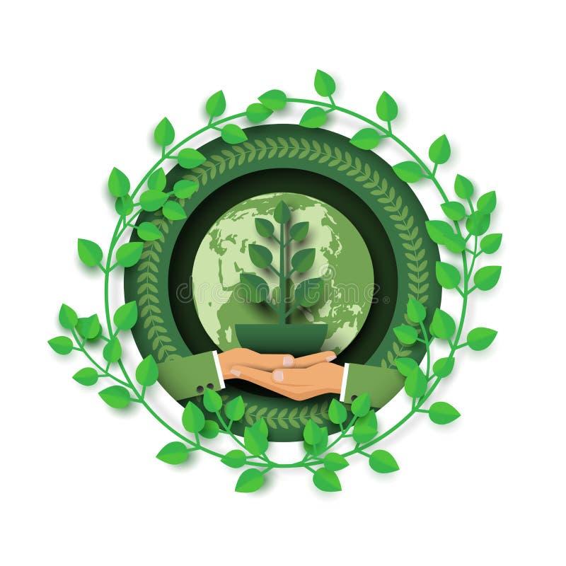 Sparen de aarde en het groene milieuconcept royalty-vrije illustratie