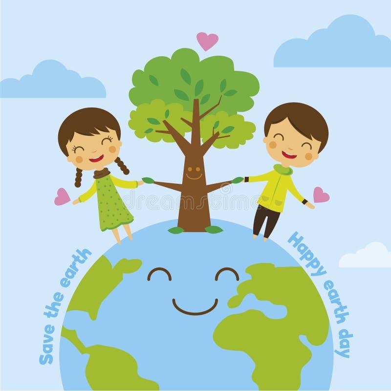 Sparen de aarde, sparen wereld stock illustratie