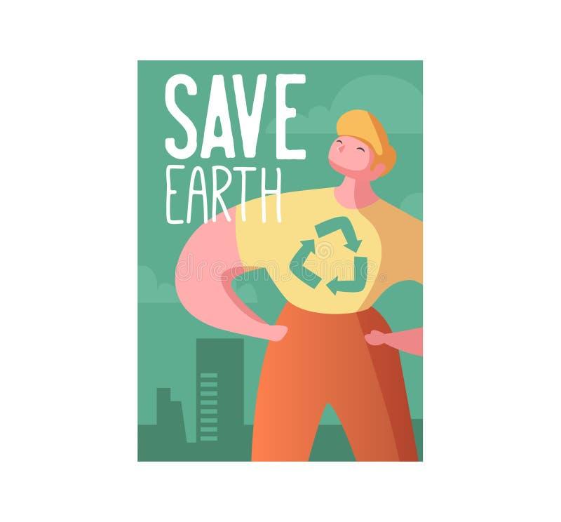 Sparen de Aardeaffiche, Banner, Reclamevlieger De dag van het wereldmilieu met de Mens en Recyclingsteken royalty-vrije illustratie