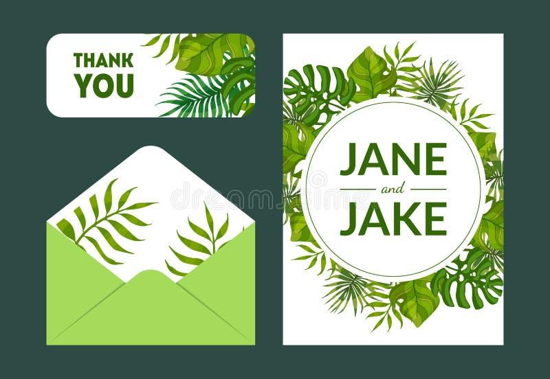 Sparen de Datum, danken de Elegante Geplaatste Malplaatjes van de Huwelijksuitnodiging, u, Rsvp-Kaarten en Envelop met Groene Exo royalty-vrije illustratie
