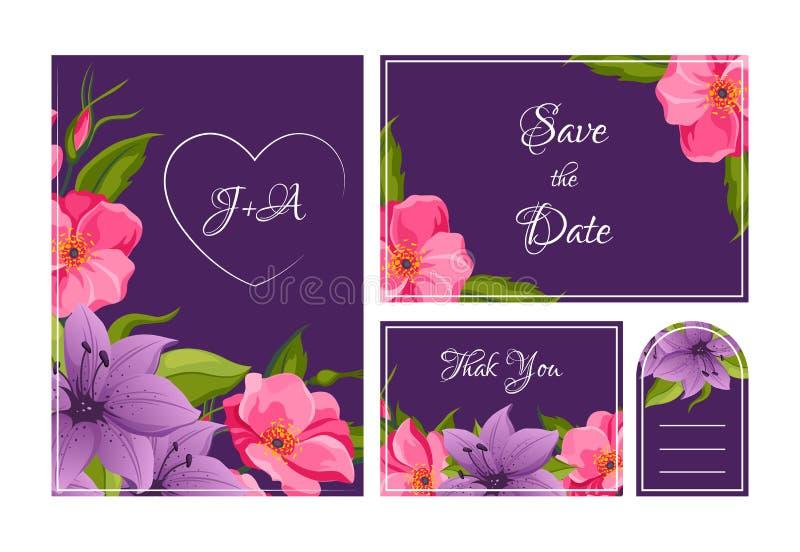 Sparen de Datum, dankt de Vakantie, Geplaatste de Malplaatjes van de Huwelijksuitnodiging, u, de Bloemenkaarten van Rsvp met Eleg stock illustratie