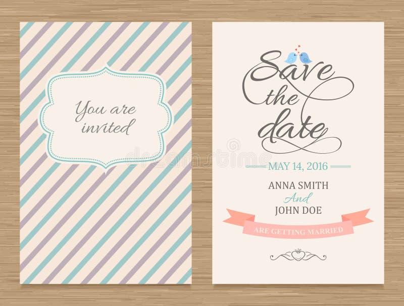 Sparen de Datum, de Kaart van de Huwelijksuitnodiging royalty-vrije illustratie