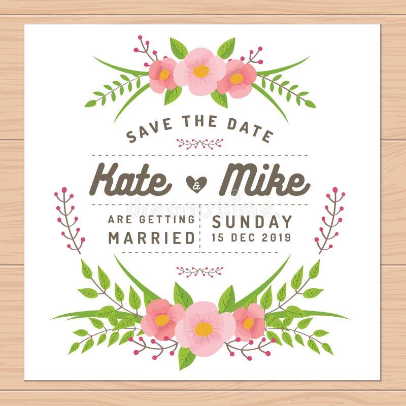 Sparen de datum, de kaart van de huwelijksuitnodiging met bloemmalplaatjes Bloem bloemenachtergrond vector illustratie