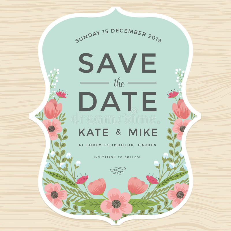 Sparen de datum, de kaartmalplaatje van de huwelijksuitnodiging met de hand getrokken uitstekende stijl van de kroonbloem Bloem b vector illustratie