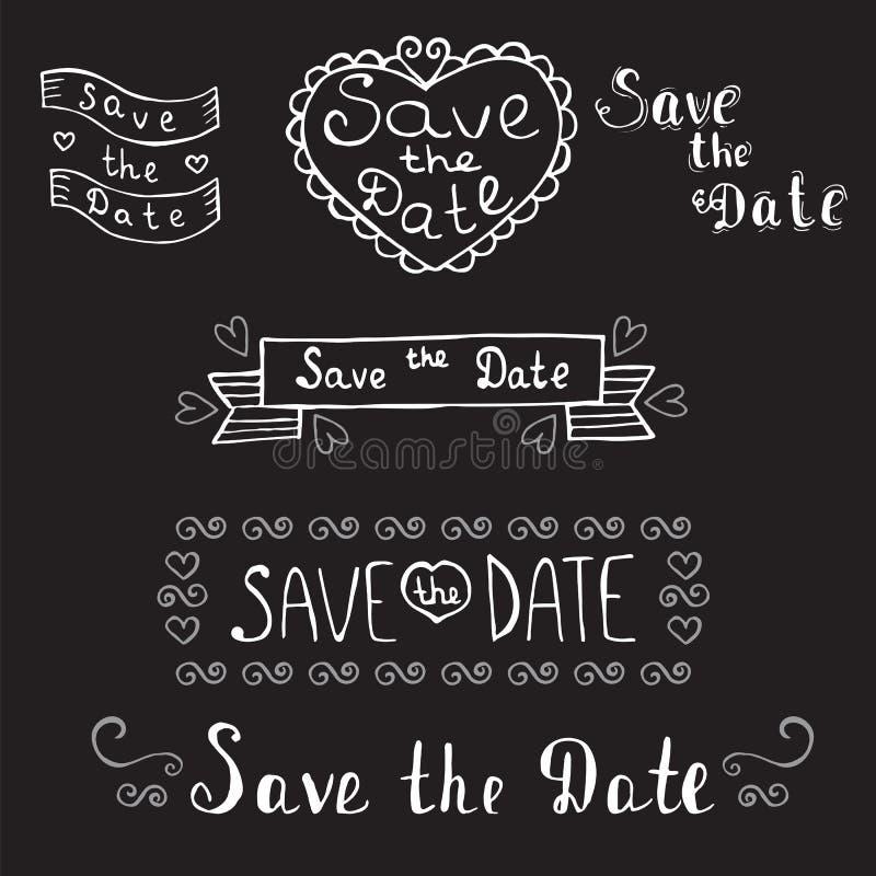 Sparen de Datum De uitnodiging van het huwelijk Hand getrokken romantische reeks Vint royalty-vrije illustratie