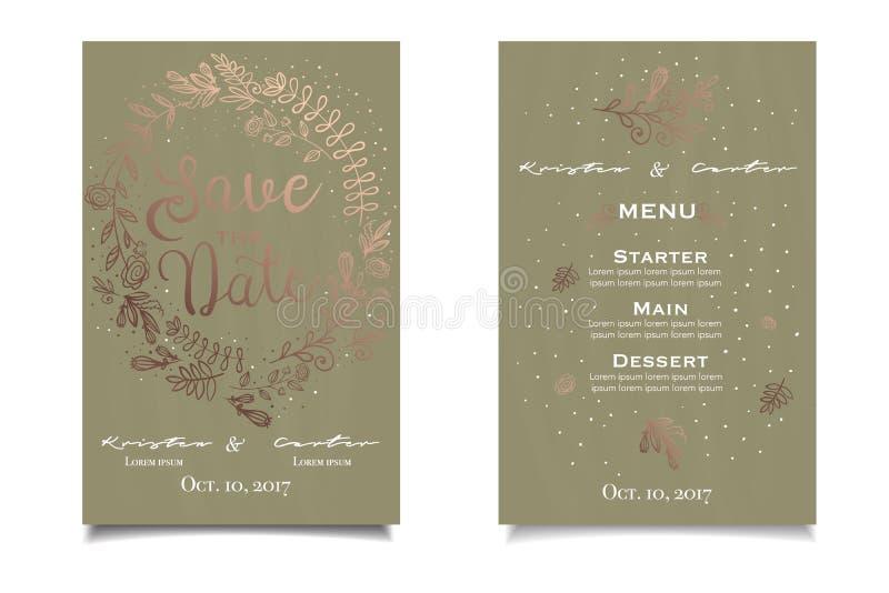 Sparen de Datum Groene uitstekende uitnodiging met gouden bloemendruk vector illustratie
