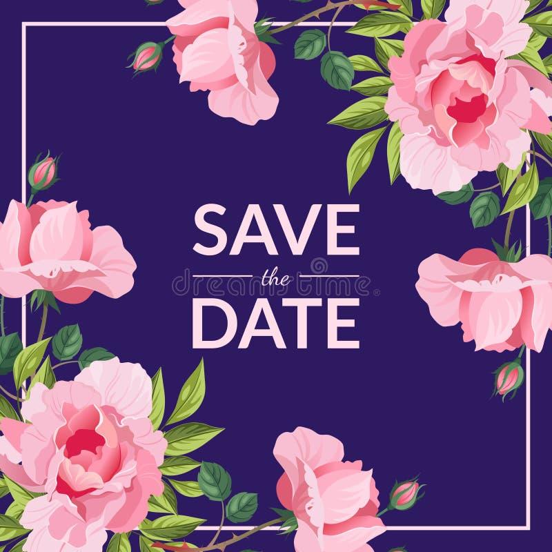 Sparen de Datum, de Kaartmalplaatje van de Huwelijksuitnodiging met de Elegante Roze Vectorillustratie van Pioenbloemen stock illustratie