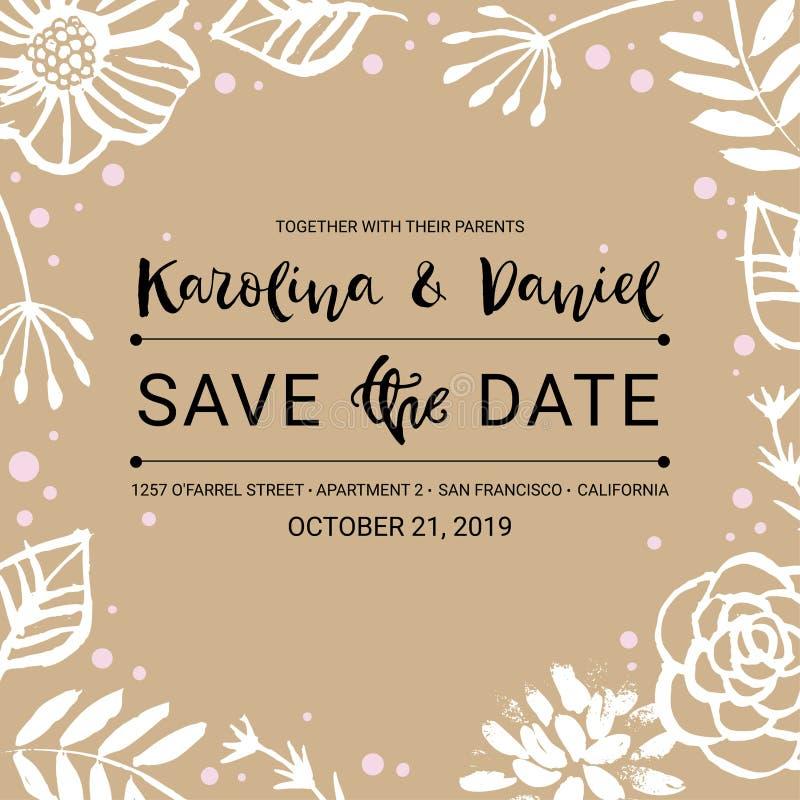 Sparen de Datum De kalligrafie bloemenkaart van de huwelijksuitnodiging met c stock illustratie