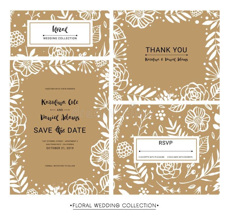 Sparen de Datum De kalligrafie bloemenkaarten van de huwelijksuitnodiging met vector illustratie