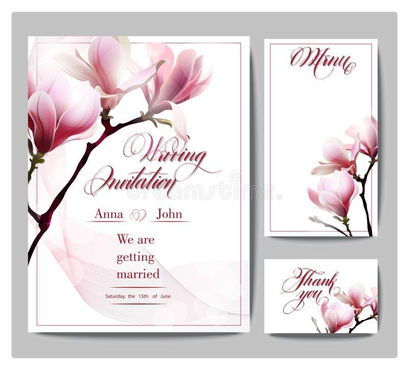 Sparen de Datum met bloeiende Magnolia De kaart Vectorillustratie van de huwelijksuitnodiging vector illustratie