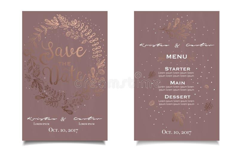 Sparen de Datum Mooie uitstekende uitnodiging met gouden bloemendruk royalty-vrije illustratie