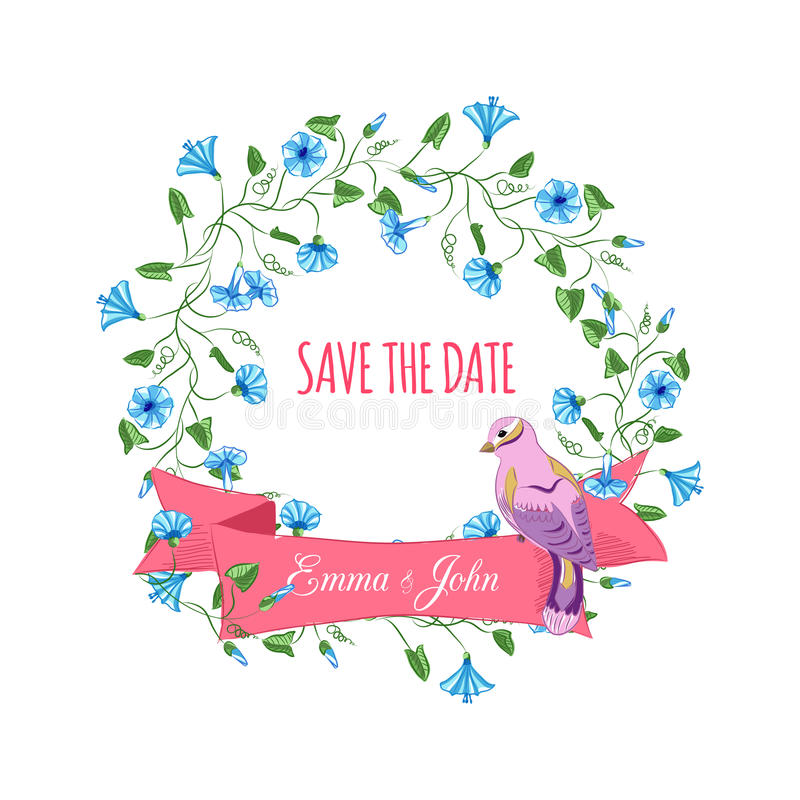 Sparen de datumhand getrokken bloemenkroon met lint stock illustratie