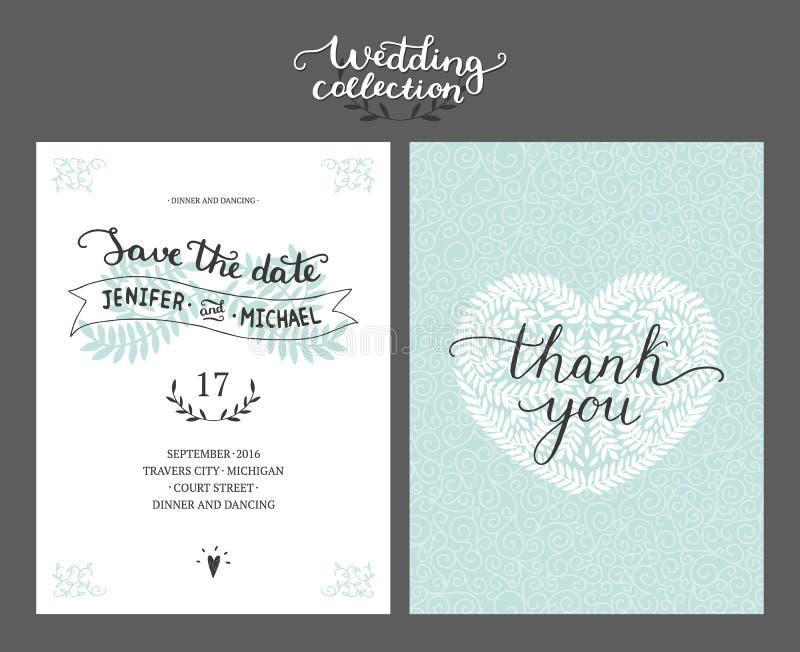 Sparen de datumkaart, huwelijksuitnodiging stock illustratie