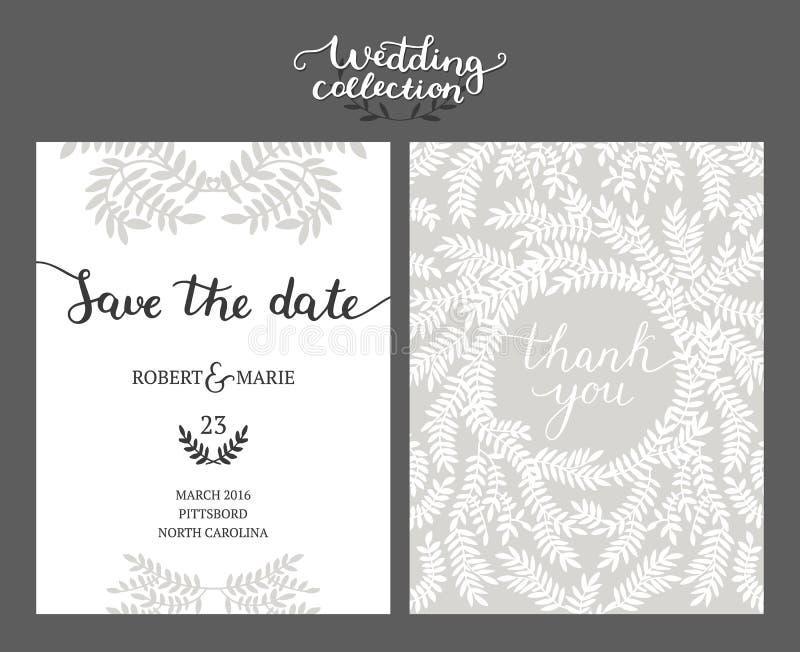 Sparen de datumkaart, huwelijksuitnodiging vector illustratie