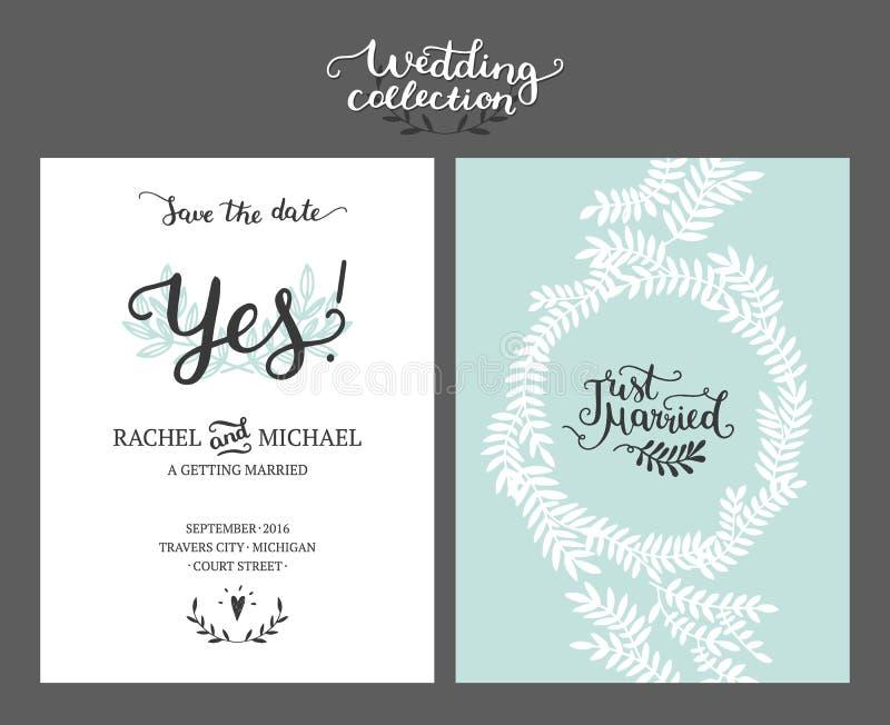 Sparen de datumkaart, huwelijksuitnodiging royalty-vrije illustratie