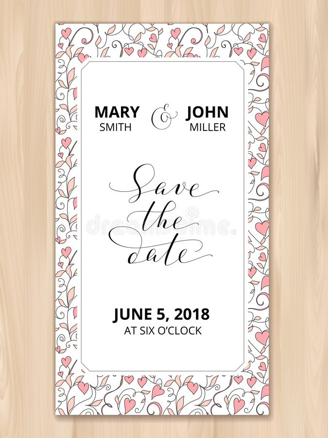 Sparen de datumkaart met de achtergrond van het hartenpatroon, uitnodigingsmalplaatje Hand geschreven douanekalligrafie stock foto