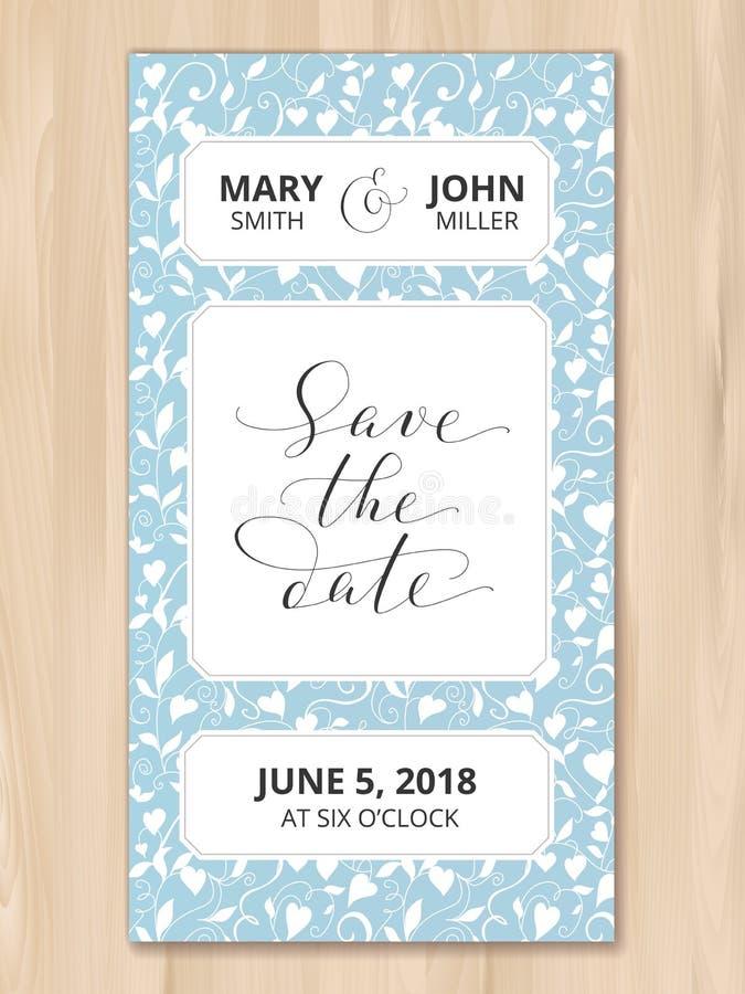 Sparen de datumkaart met de achtergrond van het hartenpatroon, uitnodigingsmalplaatje Hand geschreven douanekalligrafie royalty-vrije stock foto